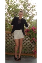 La Perla top - thrifted shorts - joseph blazer - Chie Mihara shoes