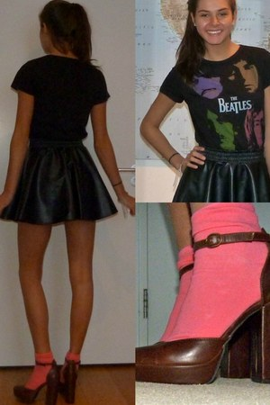black leather Tally Weijl skirt - brown soft H&M heels