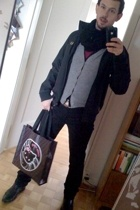 scarf - Fred Perry jacket - H&M vest - American Apparel t-shirt - American Appar