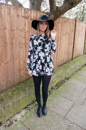 black floppy H&M hat - black floral playsuit dress