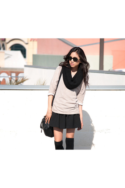 black Esprit scarf - black Forever 21 skirt - tan Zara top