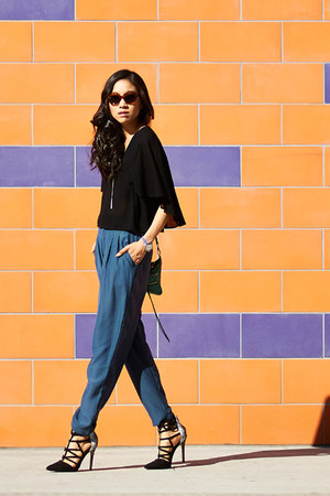 black H&M top - teal Urban Outfitters pants - black Shoedazzle heels