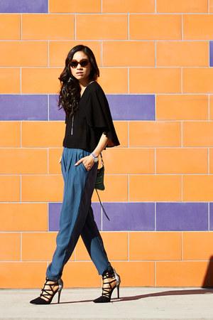 black H&M top - teal Urban Outfitters pants - black Shoedazzle heels