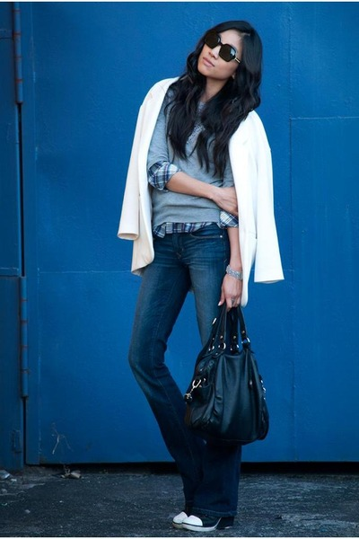 Gap jeans - Zara jacket - Forever 21 sweater - Karen Walker sunglasses
