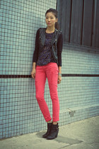 black Esley Collection vest - black Lucky Brand boots - red Forever 21 jeans