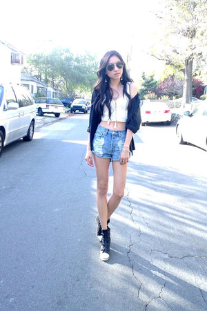 black Urban Outfitters blouse - sky blue nastygal shorts