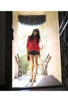 hot pink Forever 21 blouse - navy Abercrombie shorts - black Prada heels