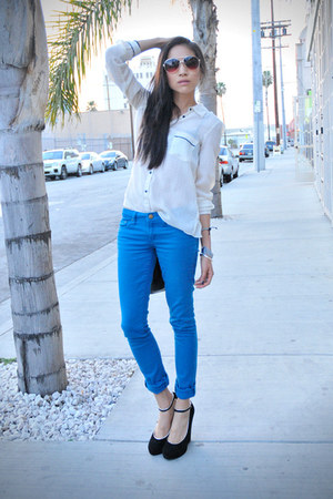Forever 21 jeans - UO heels - Gap blouse