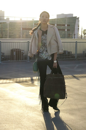 brown leather Zara bag - black fringe trim Joes Jeans jeans