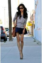 f21 skirt - madewell top - f21 heels