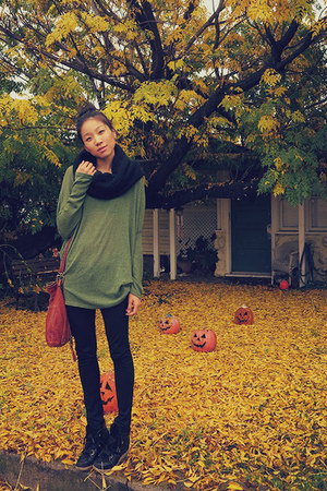 black Esprit scarf - black pants - olive green korea top