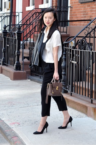 black Gent & Co jacket - heather gray 31 Phillip Lim bag - black Zara heels