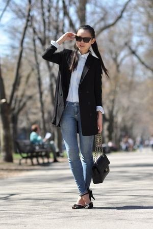 black H&amp;M blazer - black Chanel purse - blue Uniqlo shirt - black H&amp;M shoes - bl