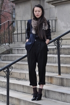 black vintage pants - black Christopher Kane x Topshop shirt - brown scarf - bro