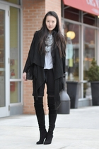gray Forever 21 shirt - black H&M blazer - black Zara boots - black Chanel purse