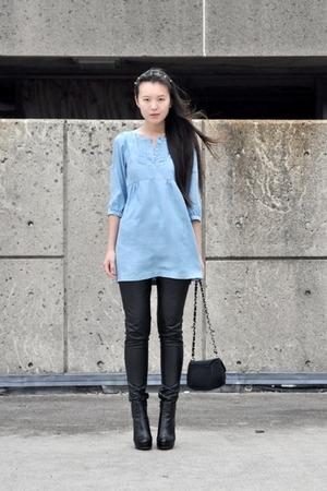 black Ebay shoes - blue H&M dress - black Deena & Ozzy purse