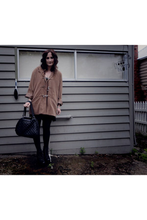 camel thrifted vintage coat - black Witchery bag - black Jeffrey Campbell shoes
