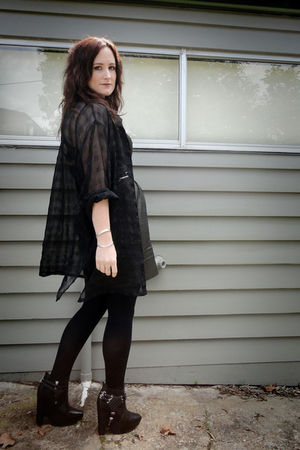 black sam edelman boots - black thrifted shirt - green Mooks dress