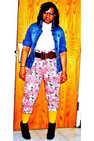 Charlotte Russe boots - Belk jacket - Charlotte Russe tights - wal-mart pants -