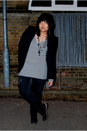 black Zara jacket - gray Topshop top - black Paco Robanne necklace - black asos