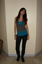 Topshop top - People are People vest - Forever21 jeans - Cutesy boots - my own c