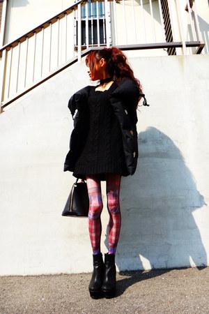 black R and E boots - black vivienne westwood jacket - black Louis Vuitton bag