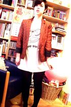 orange Luella blazer - white H&M t-shirt