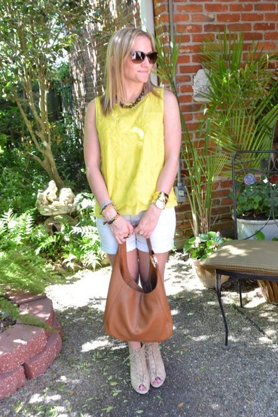 burnt orange Michael Kors bag - Anthropologie shorts - Chanel sunglasses