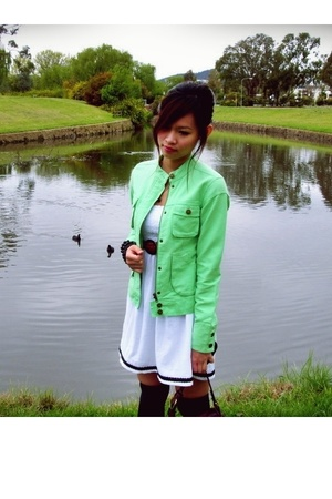 Green Mambo Goddess jacket - thrifted belt - black accessories