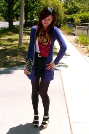 Supre black mini - supre white top - vintage scarf - vintage oroton belt - inniu