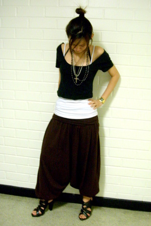 drop crotch aladdin pants - Rubi black strappy shoes - gold casio vintage watch