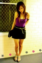 charles and keith grey shoes - cotton on black skirt - cut out purple tank - ICO