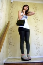 lame leggings - charles and keith gray wedges - topshop tank - Vintage bag