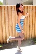 white camisole - blue tube as skirt - Icon studded belt - inniu beige shoes - su