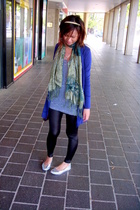 equip studded headband - mums scarf - lame leggings - cotton on blue drappy card