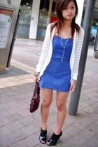 Zu peep toe oxfords - coach bag - White cardigan - blue tube dress from night ma