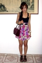 floral tube as skirt - vintage must de cartier bag - steve madden gladiators - D