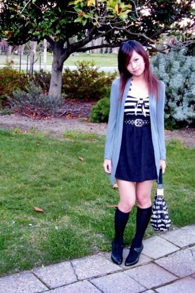 grey grayce drappy cardigan - black tube as skirt from valleygirl - LAMB bag