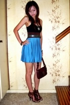 blue satin skirt - Zu gladiator heels - coach bag - vintage necklace