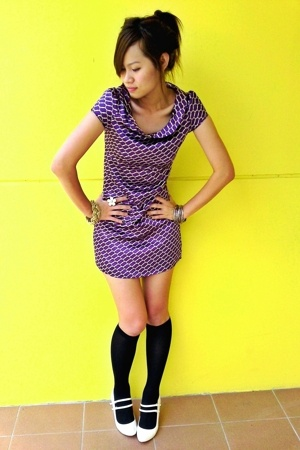 vintage purple dress - knee high socks - charles and keith white wedges