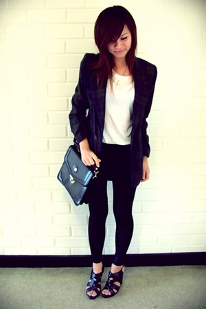 black thrifted bag - checkered blue and green thrifted blazer - lame leggings -