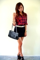 roger davids plaid shirt - supre black skirt - Icon studded belt - Rubi strappy