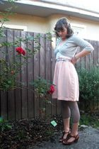 silver cardigan - pink dress - silver tights - brown shoes - silver belt