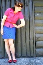 red H&M blouse - blue supre dress - red The warehouse shoes - red belt