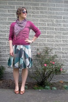 purple Cue cardigan - green H&M skirt - purple Hannahs scarf - brown shoes