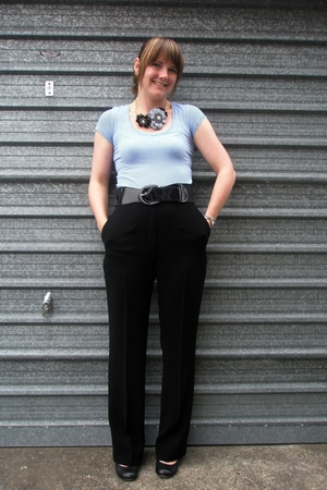 black thrifted pants - blue Glassons t-shirt - blue Accessorize necklace