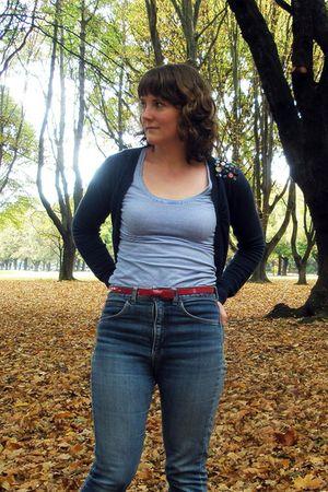 blue jeans - red belt - blue cardigan