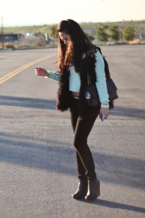 black Forever 21 vest - light blue H&M sweater - black J Brand stockings