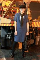 blue flea market dress - black Topman jeans - brown Zara shoes - Zara hat