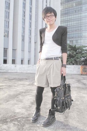 black Zara blazer - beige Thrift Store shorts - black Zara belt - black doc mart